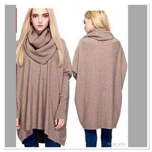 Nellbang Oversized Cowl Neck Tunic Sweater Beige